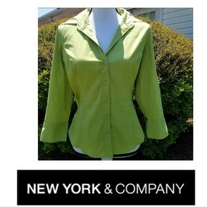 New York and Company 5 button emerald green top